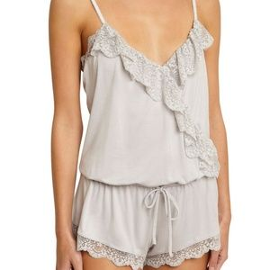 Eberjey Talia Ruffle Teddy Romper Light Gray NWT